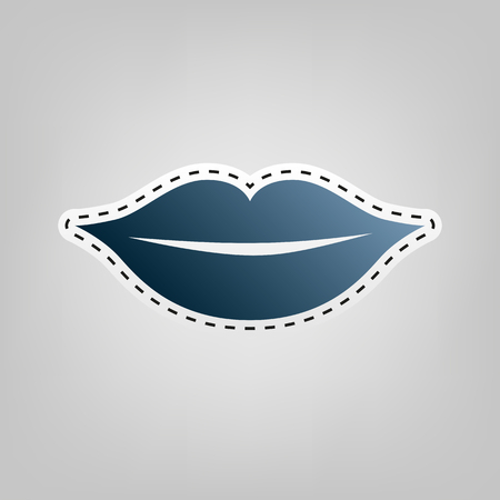 Lips sign illustration. Vector. Blue icon with outline for cutting out at gray background.