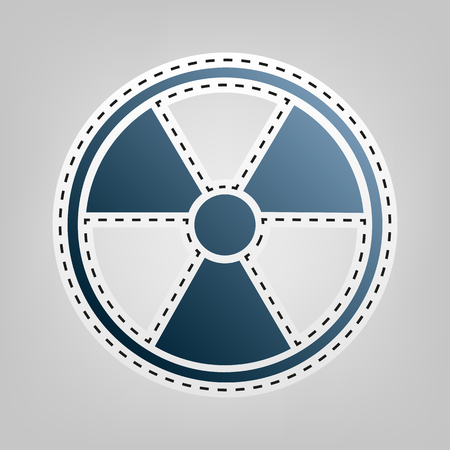 perilous: Radiation Round sign. Vector. Blue icon with outline for cutting out at gray background.