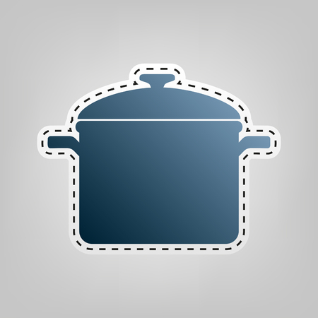 cook out: Cooking pan sign. Vector. Blue icon with outline for cutting out at gray background. Illustration