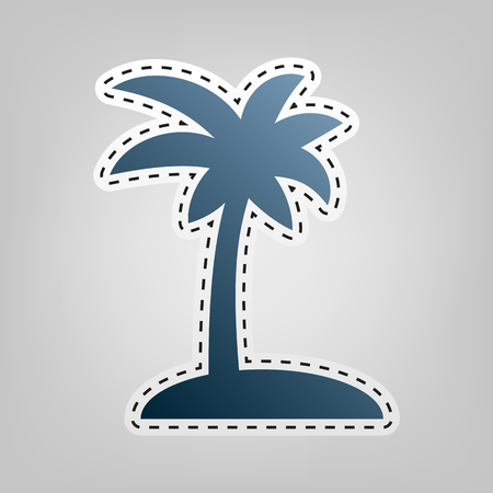 Coconut palm tree sign. Vector. Blue icon with outline for cutting out at gray background.