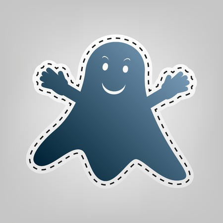 Ghost isolated sign. Vector. Blue icon with outline for cutting out at gray background. Vettoriali