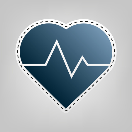 cor: Heartbeat sign illustration. Vector. Blue icon with outline for cutting out at gray background.