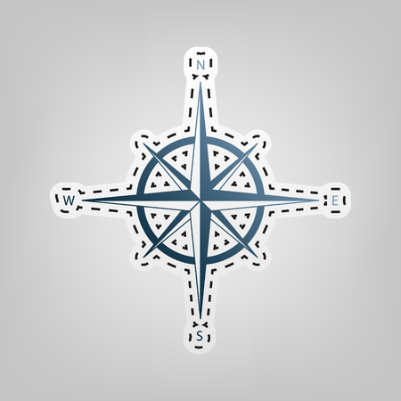 Wind rose sign. Vector. Blue icon with outline for cutting out at gray background.