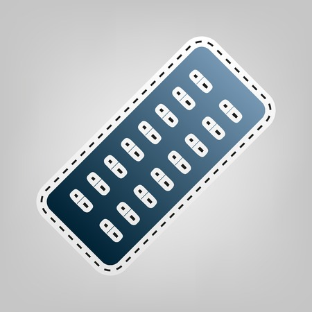 doctor tablet: Medical Pills sign. Vector. Blue icon with outline for cutting out at gray background.