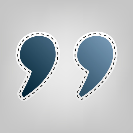 Quote sign illustration. Vector. Blue icon with outline for cutting out at gray background.