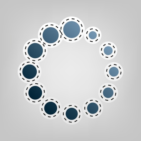 Circular loading sign. Vector. Blue icon with outline for cutting out at gray background. Illustration