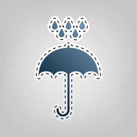 Umbrella with water drops. Rain protection symbol. Flat design style. Vector. Blue icon with outline for cutting out at gray background. Illustration