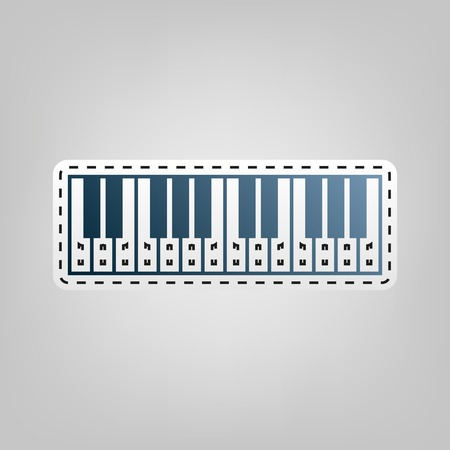 Piano Keyboard sign. Vector. Blue icon with outline for cutting out at gray background.