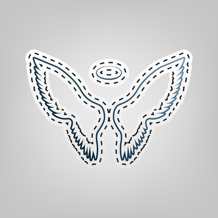 Wings sign illustration. Vector. Blue icon with outline for cutting out at gray background.
