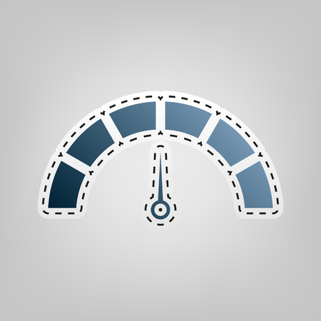Speedometer sign illustration. Vector. Blue icon with outline for cutting out at gray background. Illustration