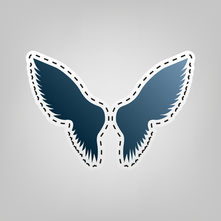 Wings sign illustration. Vector. Blue icon with outline for cutting out at gray background. Illustration