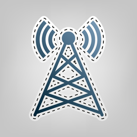 Antenna sign illustration. Vector. Blue icon with outline for cutting out at gray background. Illustration