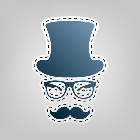 Hipster accessories design. Vector. Blue icon with outline for cutting out at gray background.