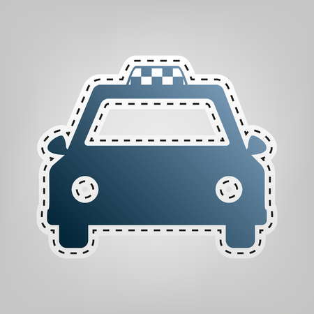 Taxi sign illustration. Vector. Blue icon with outline for cutting out at gray background.