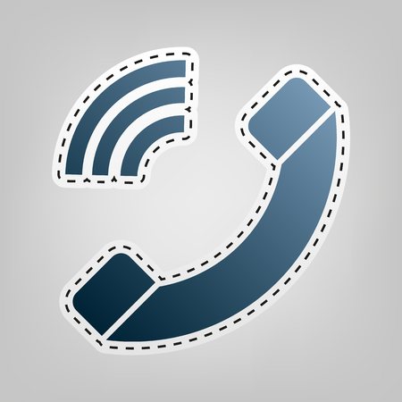 Phone sign illustration. Vector. Blue icon with outline for cutting out at gray background.