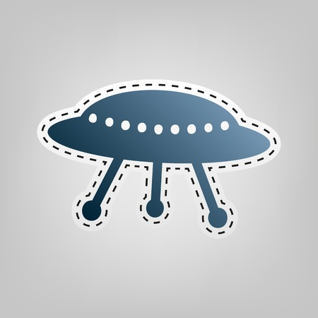 platillo volador: UFO simple sign. Vector. Blue icon with outline for cutting out at gray background.