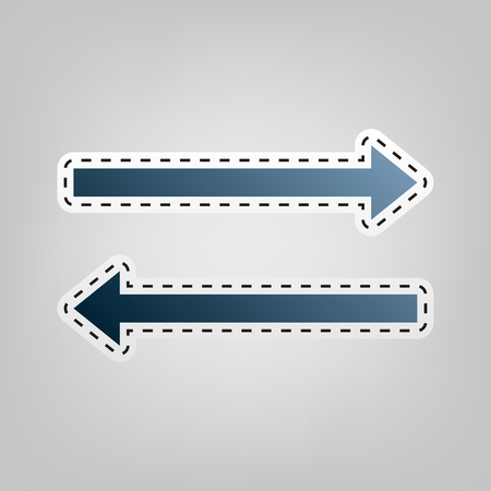 Arrow simple sign. Vector. Blue icon with outline for cutting out at gray background.