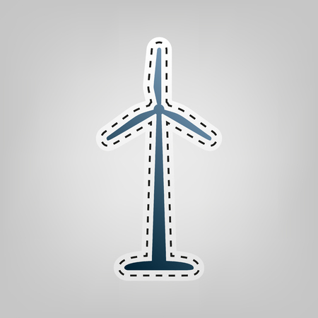 Wind turbine sign. Vector. Blue icon with outline for cutting out at gray background. Illustration