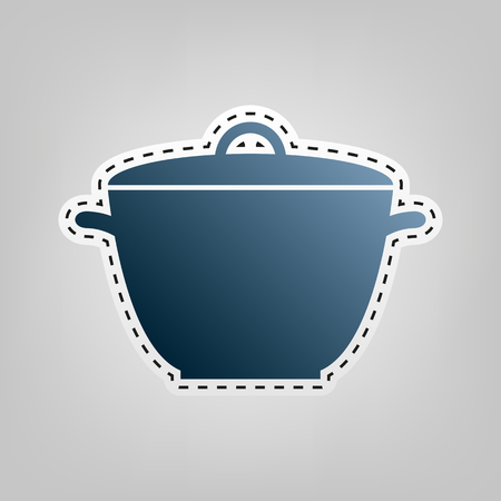 Saucepan simple sign. Vector. Blue icon with outline for cutting out at gray background.