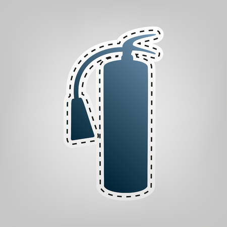 burn out: Fire extinguisher sign. Vector. Blue icon with outline for cutting out at gray background. Illustration