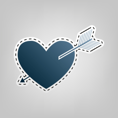 Arrow heart sign. Vector. Blue icon with outline for cutting out at gray background.