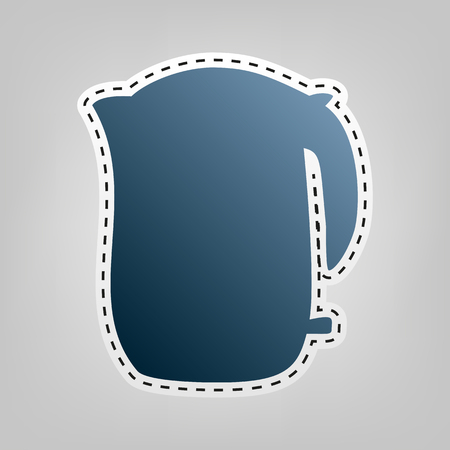 electric tea kettle: Electric kettle sign. Vector. Blue icon with outline for cutting out at gray background.