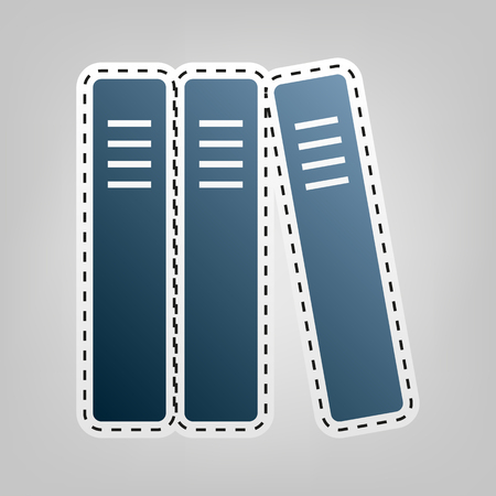 Row of binders, office folders icon. Vector. Blue icon with outline for cutting out at gray background.