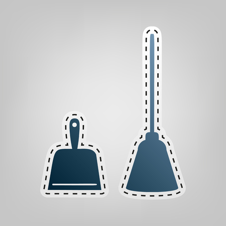 Dustpan vector sign. Scoop for cleaning garbage housework dustpan equipment. Vector. Blue icon with outline for cutting out at gray background.