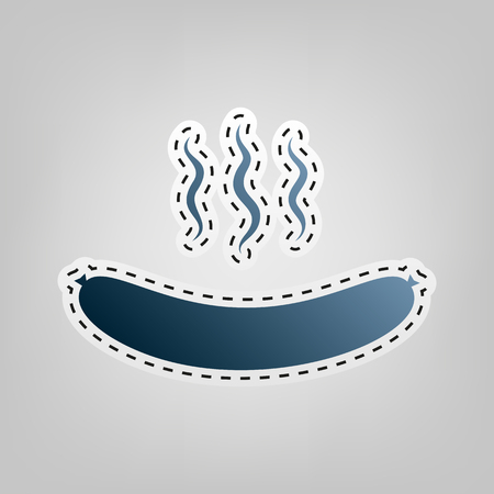 Sausage simple sign. Vector. Blue icon with outline for cutting out at gray background.