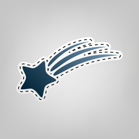 Meteor shower sign. Vector. Blue icon with outline for cutting out at gray background.