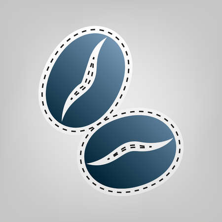 Coffee beans sign. Vector. Blue icon with outline for cutting out at gray background. Ilustração