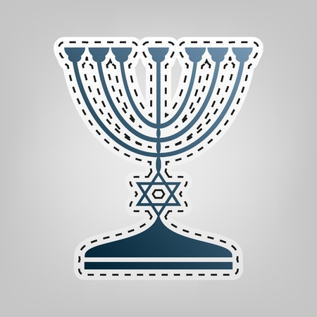 Jewish Menorah candlestick in black silhouette. Vector. Blue icon with outline for cutting out at gray background. Illustration