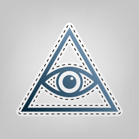 ojo de horus: Todos viendo el símbolo de la pirámide del ojo. Francmasón y espiritual. Vector. Icono azul con el contorno para cortar en el fondo gris.