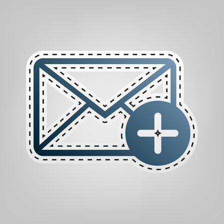 Mail sign illustration with add mark. Vector. Blue icon with outline for cutting out at gray background. Illustration