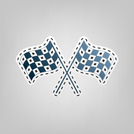 Crossed checkered flags waving in the wind conceptual of motor sport. Vector. Blue icon with outline for cutting out at gray background.