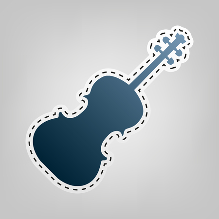 arpa: Violine sign ilustración. Vector. Icono azul con el contorno para cortar en el fondo gris.