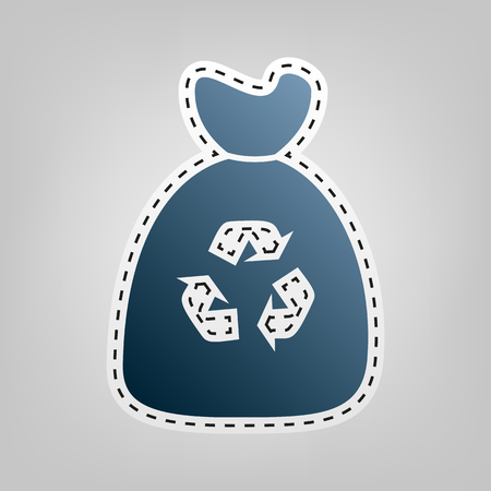 food waste: Trash bag icon. Vector. Blue icon with outline for cutting out at gray background.