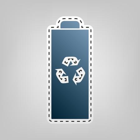 バッテリー リサイクル サイン イラスト。ベクトル。青色のアイコンは、灰色の背景の切り出しの概要と。