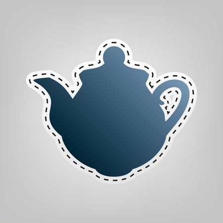 Tea maker Kitchen sign. Vector. Blue icon with outline for cutting out at gray background.