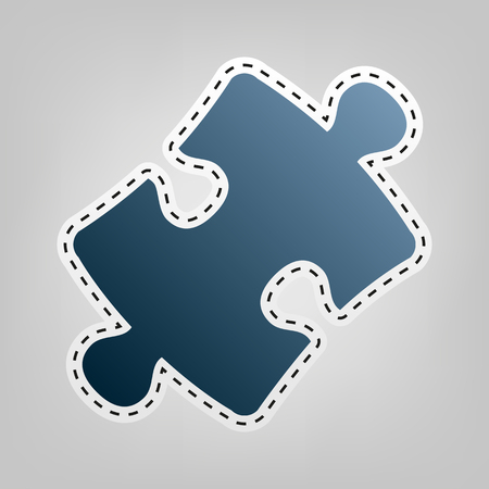 conundrum: Puzzle piece sign. Vector. Blue icon with outline for cutting out at gray background. Illustration