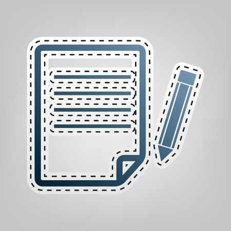 note pad: Paper and pencil sign. Vector. Blue icon with outline for cutting out at gray background.