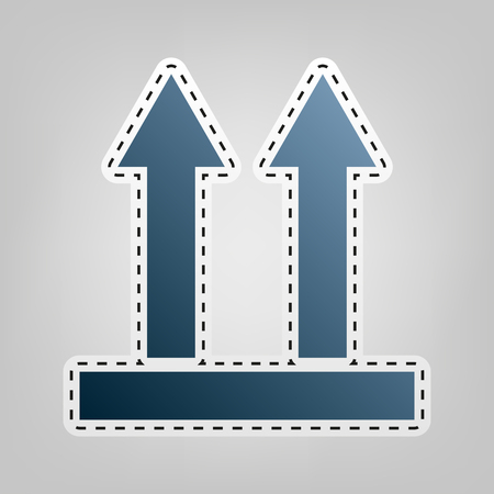 Logistic sign of arrows. Vector. Blue icon with outline for cutting out at gray background.