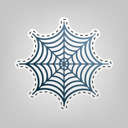 poison: Spider on web illustration. Vector. Blue icon with outline for cutting out at gray background.