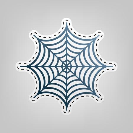 Spider op web illustratie. Vector. Blauw pictogram met omtrek voor uitsnijden op grijze achtergrond.