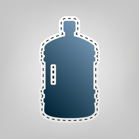Plastic bottle silhouette sign. Vector. Blue icon with outline for cutting out at gray background. Illustration