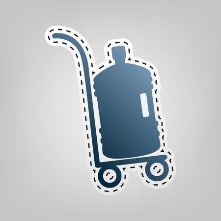 Plastic bottle silhouette with water. Big bottle of water on track. Vector. Blue icon with outline for cutting out at gray background.