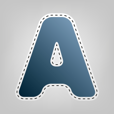 Letter A sign design template element. Vector. Blue icon with outline for cutting out at gray background.