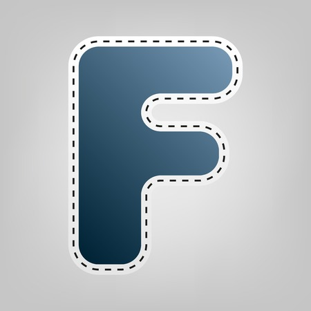 sans: Letter F sign design template element. Vector. Blue icon with outline for cutting out at gray background. Illustration