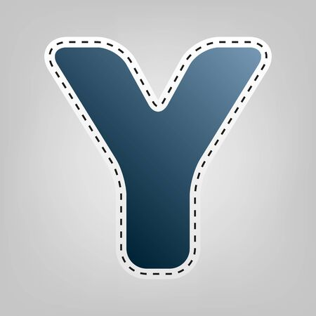 Letter Y sign design template element. Vector. Blue icon with outline for cutting out at gray background.
