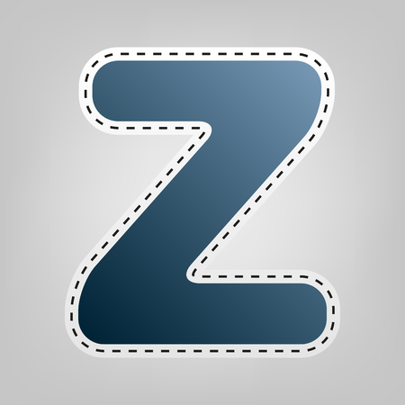 sans: Letter Z sign design template element. Vector. Blue icon with outline for cutting out at gray background.